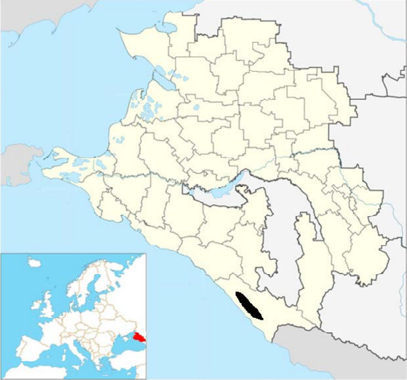 Ареал орехотворки на Кавказе