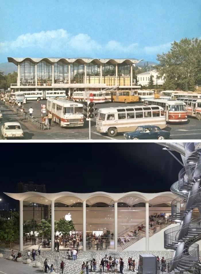 Автовокзал в Сочи vs Павильон Apple в Майами